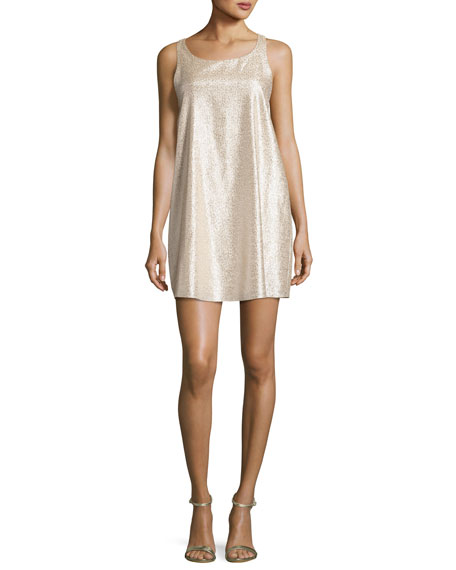 Alice + Olivia Estelle Metallic Sleeveless Shift Dress,