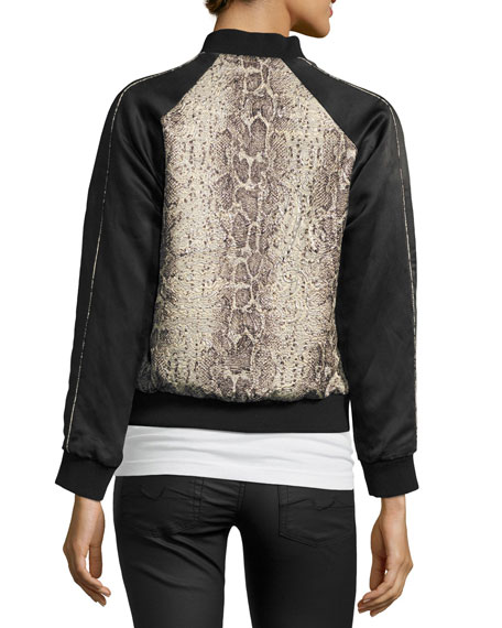 Image 2 of 3: Billy Snakeskin-Print Bomber Jacket, Beige/Black