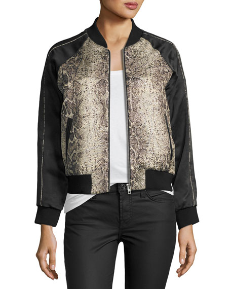 Image 1 of 3: Billy Snakeskin-Print Bomber Jacket, Beige/Black