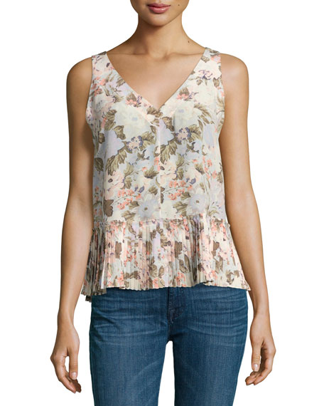 Rebecca Taylor Penelope Sleeveless Floral Silk Top with