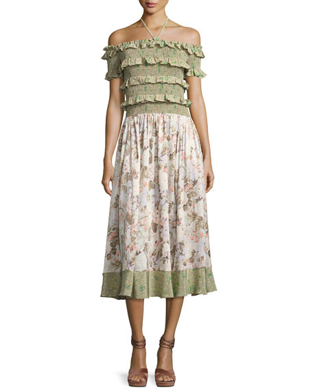 Rebecca Taylor Smocked Off-the-Shoulder Halter Floral-Print Maxi
