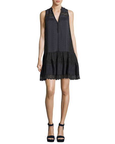 Rebecca Taylor Sleeveless Silk Stripe Dress, Charcoal