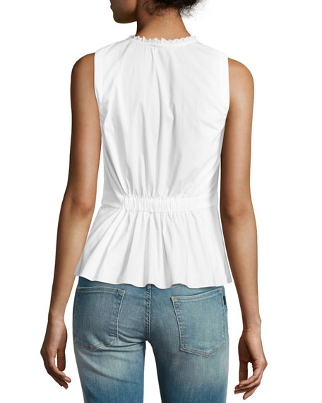 Sleeveless Poplin Crossover Top, White