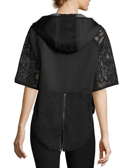 Caitlyn Lace-Trim Performance Jacket, Black