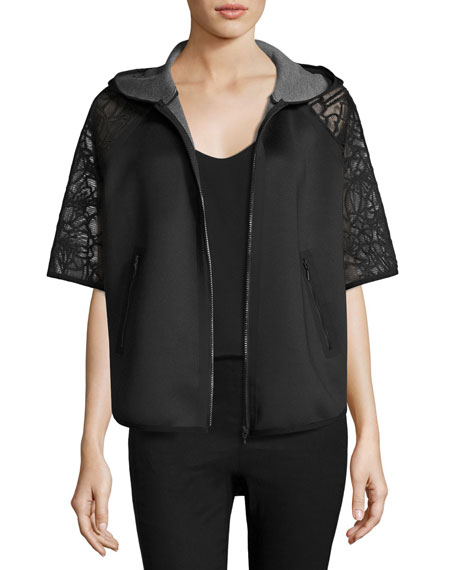 Caitlyn Lace-Trim Performance Jacket, Black