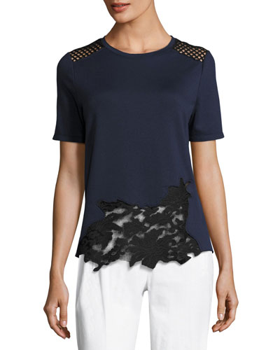 Viviana Short-Sleeve Lace-Inset Knit Top, Blue/Black