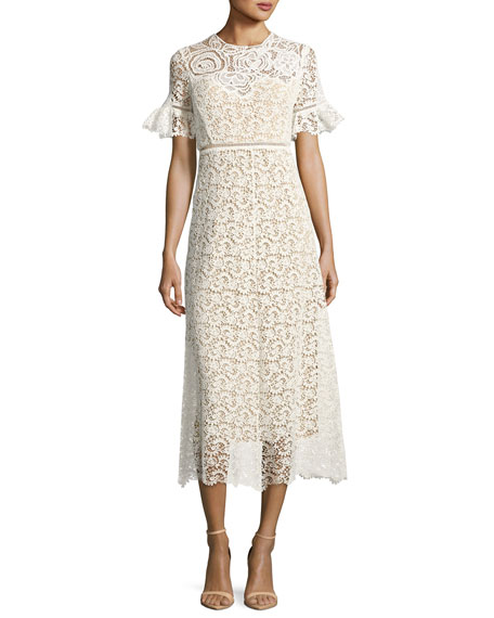 Rebecca Taylor Short-Sleeve Lace Midi Dress, White