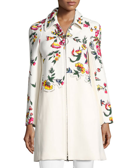 3.1 Phillip Lim Studded Floral Appliqué Coat, Multi