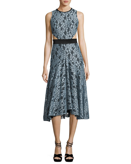 Alexis Maile Lace Cutout Sleeveless Midi Dress, Blue/Black