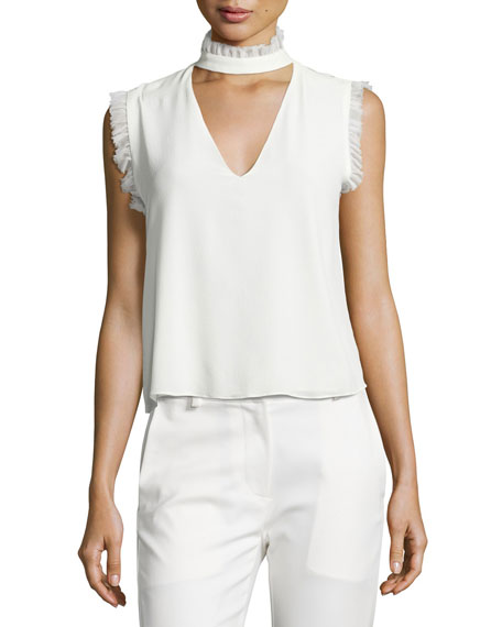 Alexis Lilibeth Ruffle-Trim Sleeveless Silk Choker Top, White