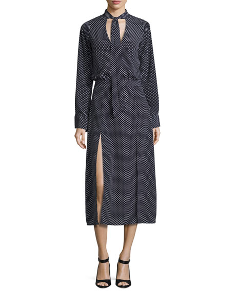 Alexis Noelle Polka-Dot Tie-Neck Slit Midi Dress, Navy