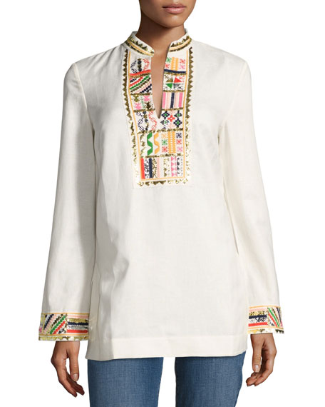 Tory Burch Long-Sleeve Embellished Tory Tunic, Ivory and