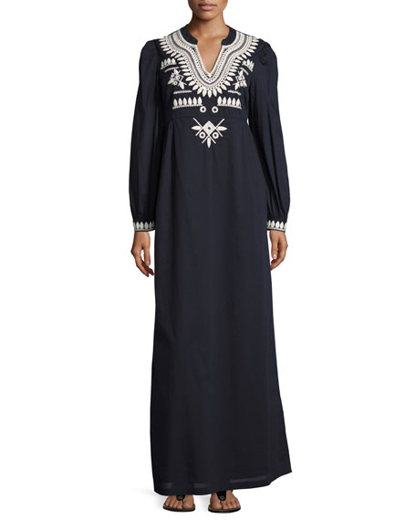 Tory Burch Keegan Embroidered Cotton Voile Caftan Dress,