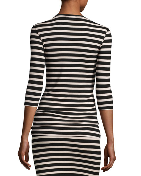 3/4-Sleeve Striped Jersey Top, Pink/Black