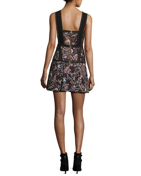 Floral Jacquard Sleeveless Mini Dress, Multi