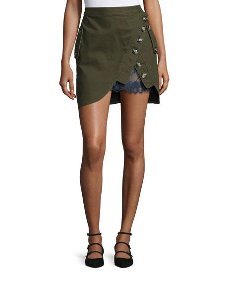 Utility Miniskirt with Lace Insert, Khaki