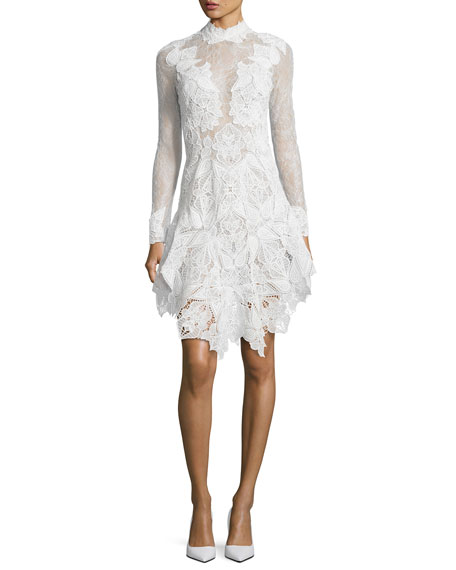 Jonathan Simkhai Multimedia Corded Long-Sleeve Lace Dress, White