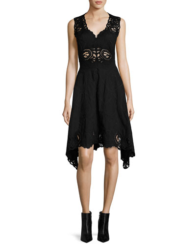 Crochet Embroidered V-Neck Dress, Black
