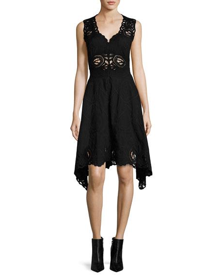 Jonathan Simkhai Crochet Embroidered V-Neck Dress, Black