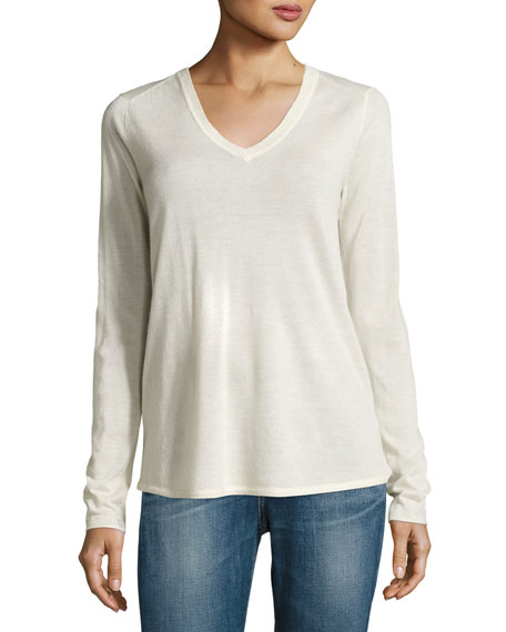V-NECK RAW EDGE SWEATER