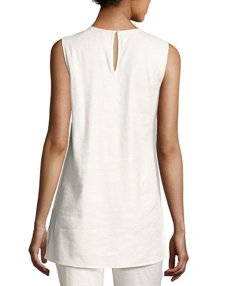 Embellished Linen-Blend Top
