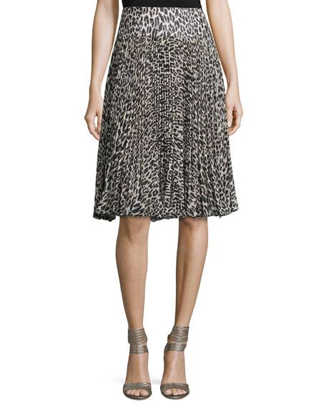 Nanette Lepore Pleated Silk Leopard-Print Skirt