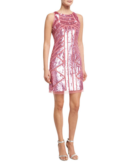 Aidan Mattox Sleeveless Geometric Sequined Sheath Dress, Pink