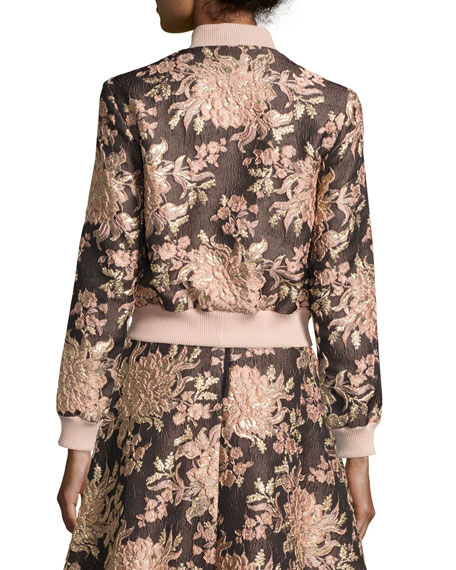 Lonnie Floral Jacquard Bomber Jacket, Multicolor