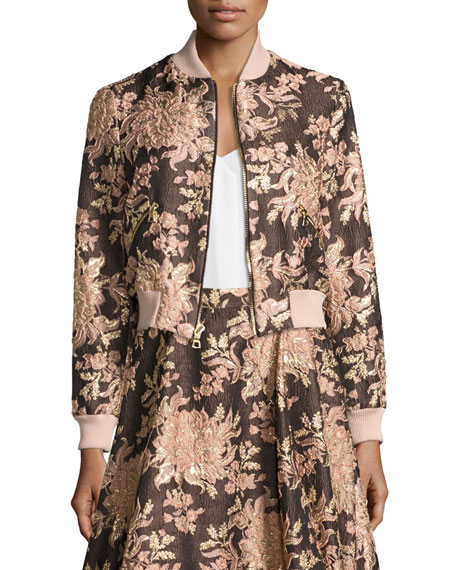 Alice + Olivia Lonnie Floral Jacquard Bomber Jacket