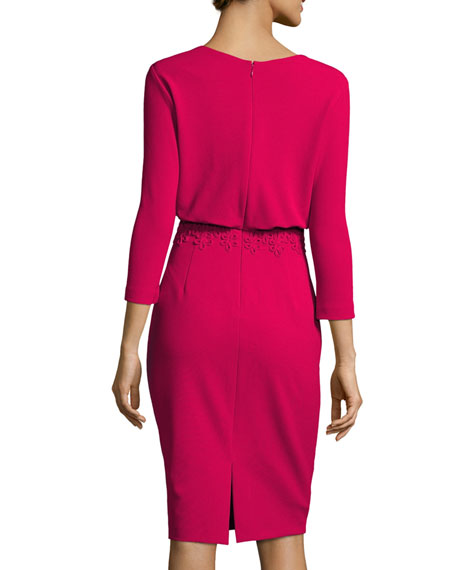 3/4-Sleeve Stretch Crepe Blouson Dress, Pink