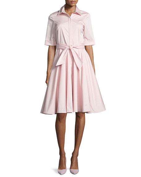 Badgley Mischka Belted Stretch Poplin Shirtdress, Pink