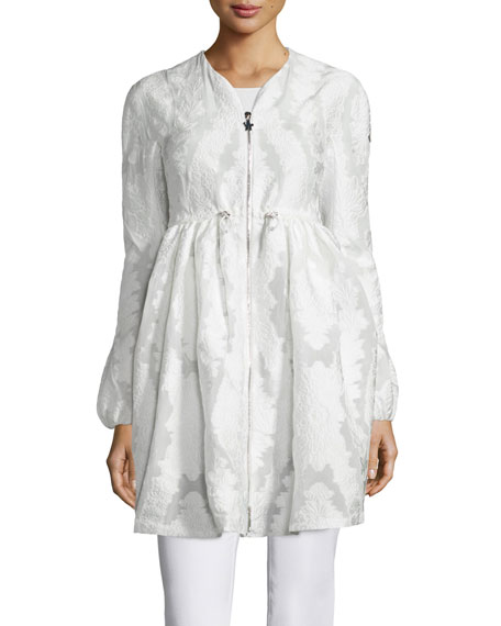 Moncler Long Floral-Embroidered Collarless Jacket, White