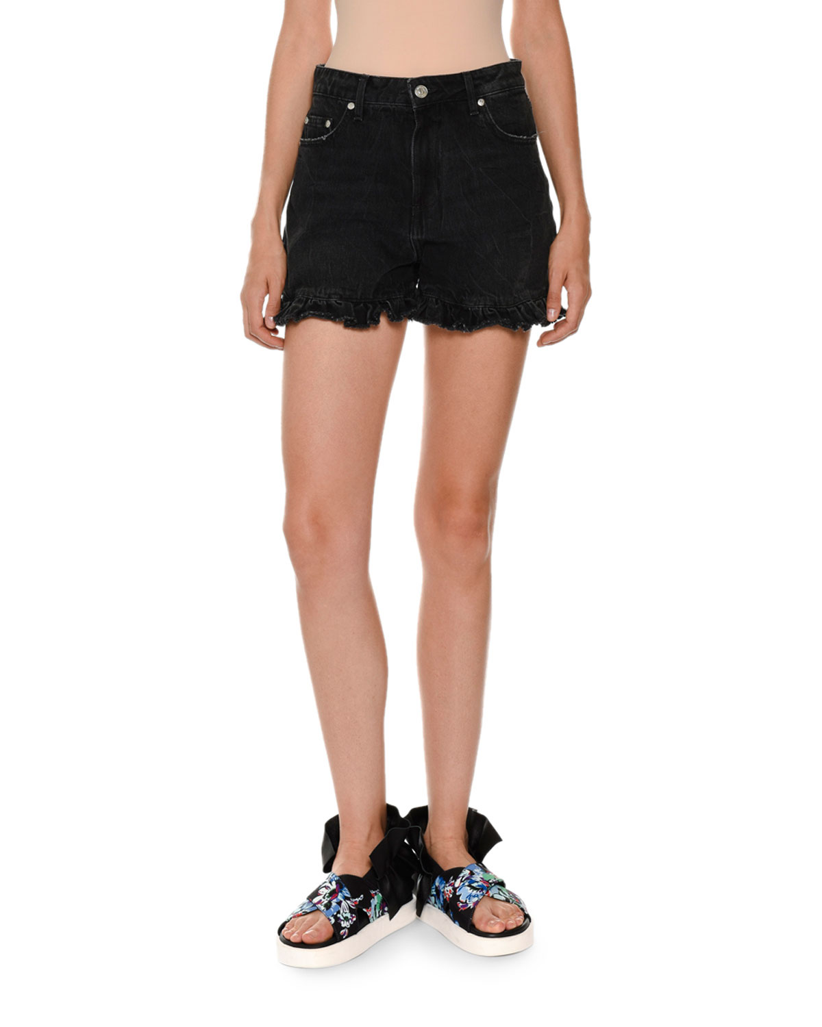 717795444c MSGM Denim Ruffle Shorts, Black | Neiman Marcus