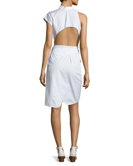 Asymmetric Deconstructed Wrap Shirtdress, Blue/White Stripe