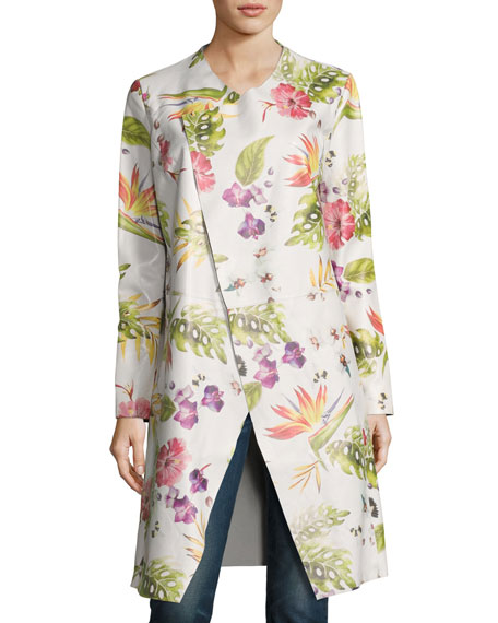 Neiman Marcus Long Floral-Print Leather Duster Jacket, White