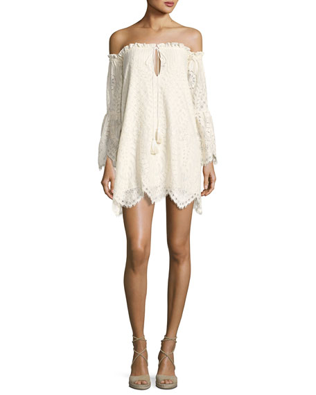Red Carter Deidra Off-the-Shoulder Lace Dress, Off White