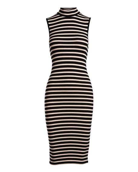Sleeveless Striped Stretch Jersey Dress