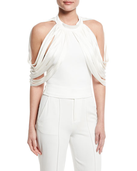 Alice + Olivia Bree Drape-Shoulder Crop Top, Off