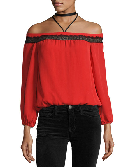 Alice + Olivia Esmeralda Off-The-Shoulder Neck-Tie Top, Poppy
