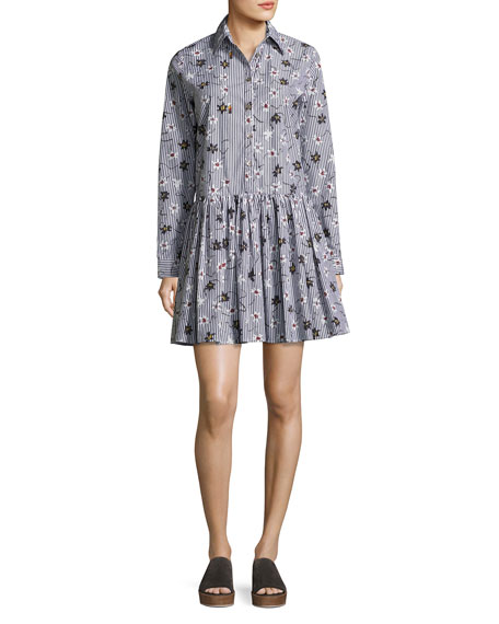 Long-Sleeve Floral Striped Poplin Shirtdress, Black/Multicolor