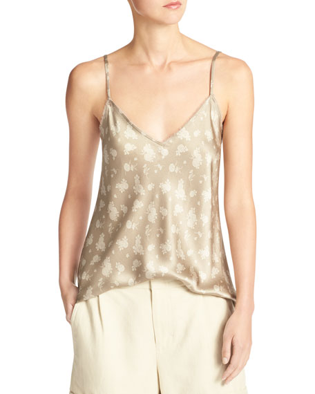 Calico Floral Silk Satin V-Neck Camisole