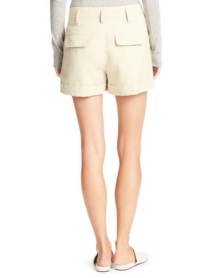 Slouchy Sateen Single-Pleat Shorts