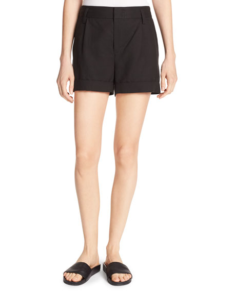 Slouchy Sateen Single-Pleat Shorts
