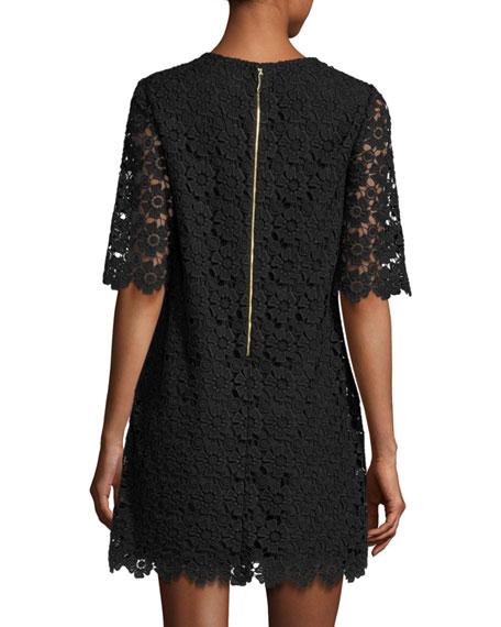 short-sleeve daisy lace shift dress, black