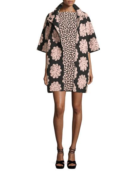 jacquard petal stamp mini dress, black/natural