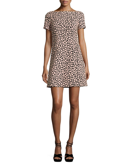 jacquard petal stamp mini dress, black/natural