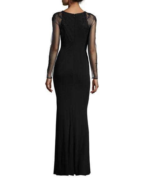 Sheer-Sleeve Jersey Column Gown, Black
