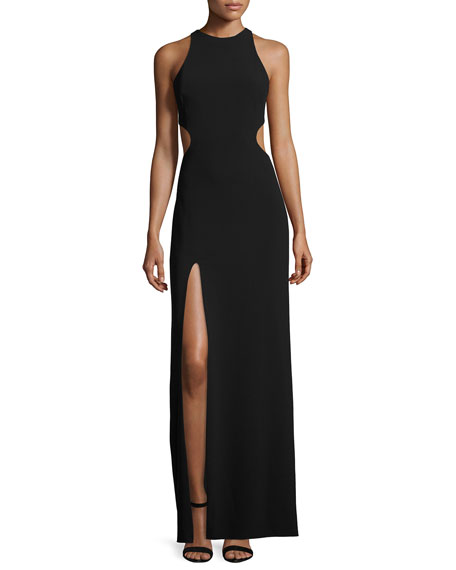 Sleeveless Crewneck Gown, Black/Chalk