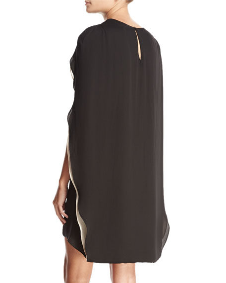 CAPE SLV ROUND NECK COLOR BL