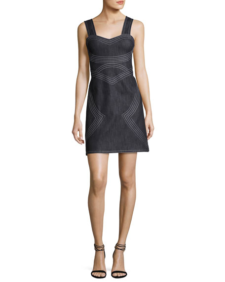 Sleeveless Geometric Chambray Sheath Dress, Indigo